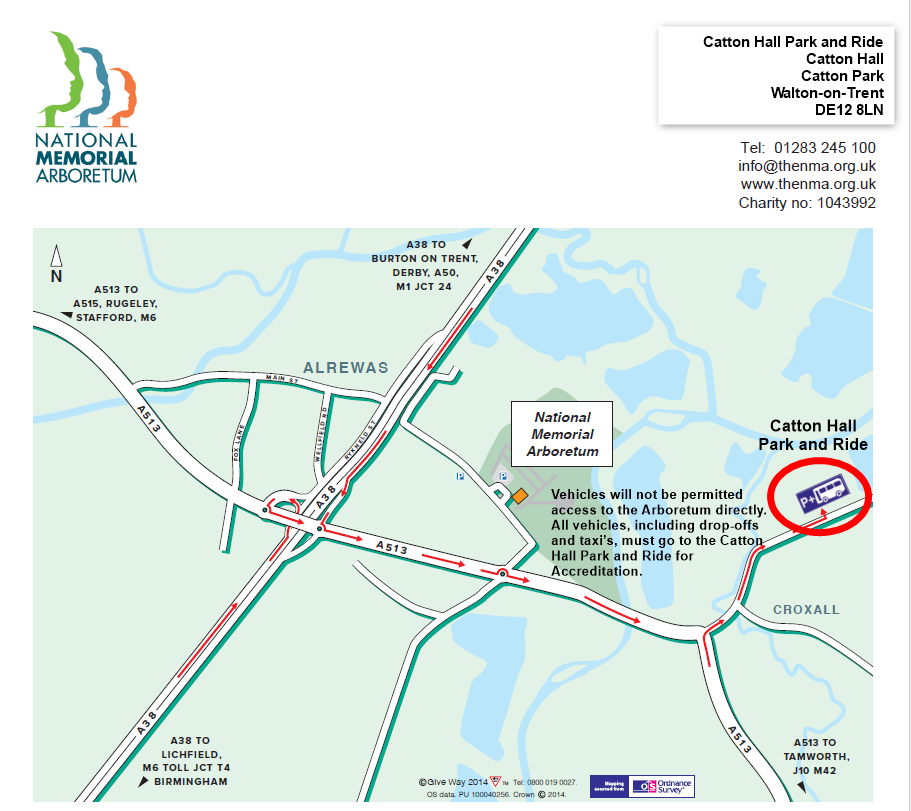 Catton Hall Park and Ride map